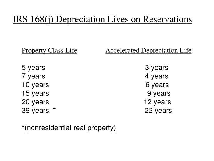 IRS 168(j) Depreciation Lives on Reservations