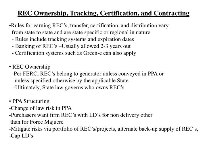 REC Ownership, Tracking, Certification, and Contracting