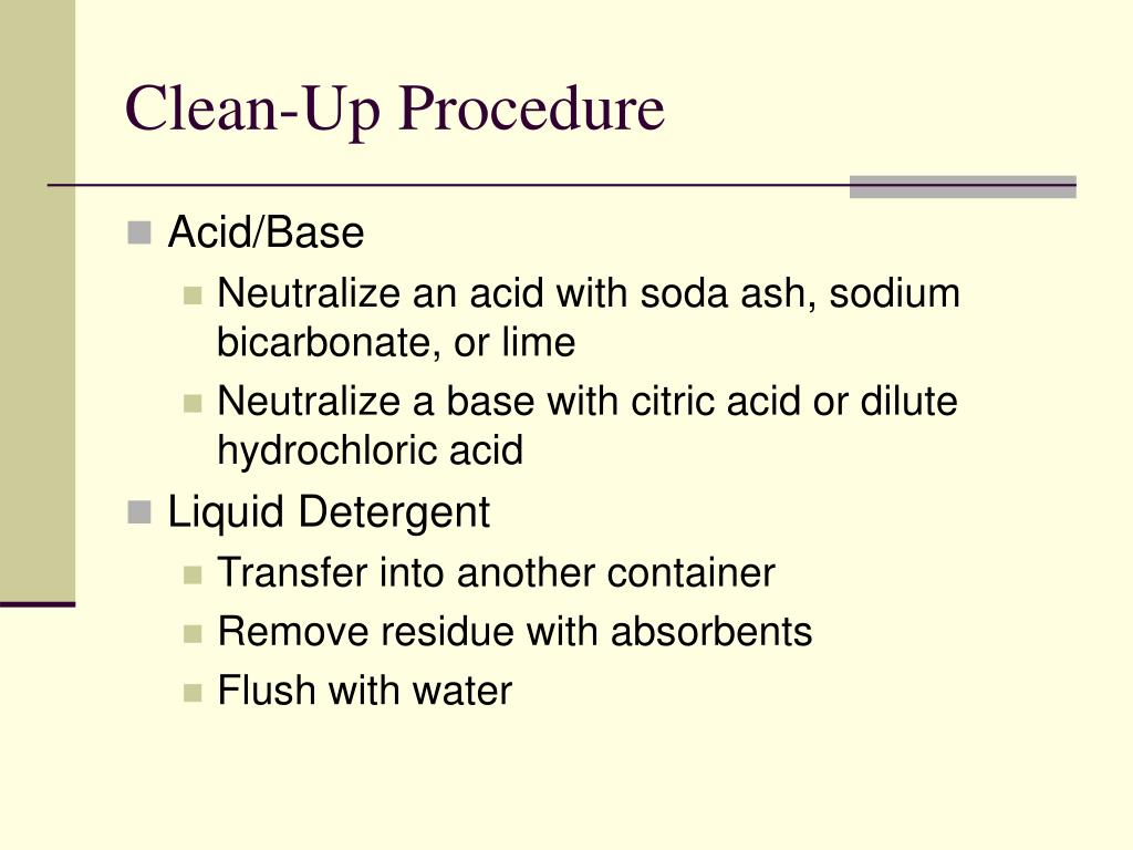 Clean-Up Procedure