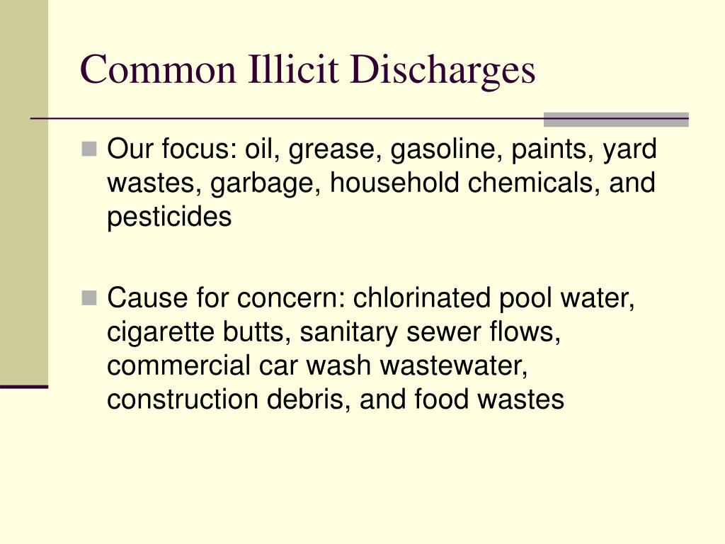 Common Illicit Discharges