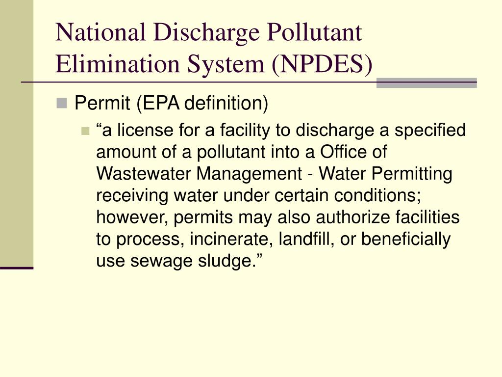 National Discharge Pollutant Elimination System (NPDES)