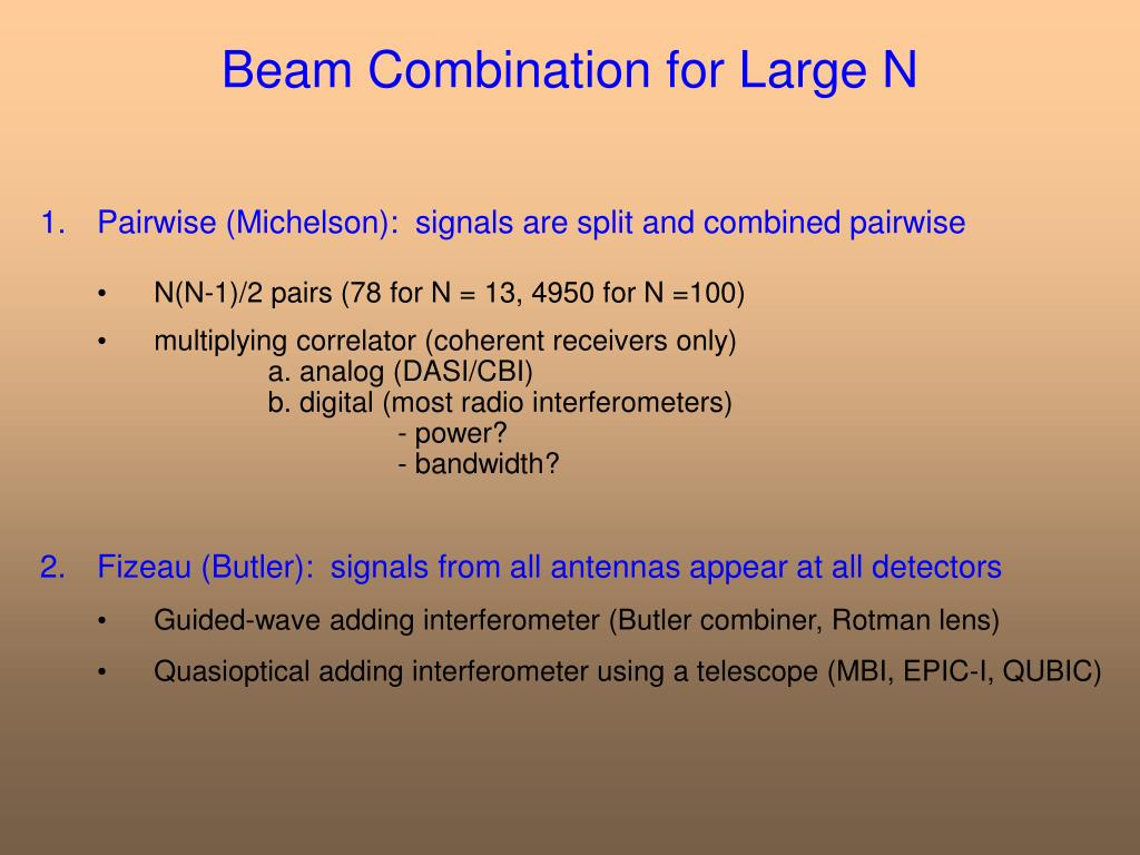 Beam Combination for Large N