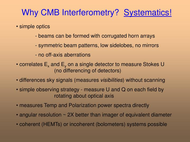 Why cmb interferometry systematics