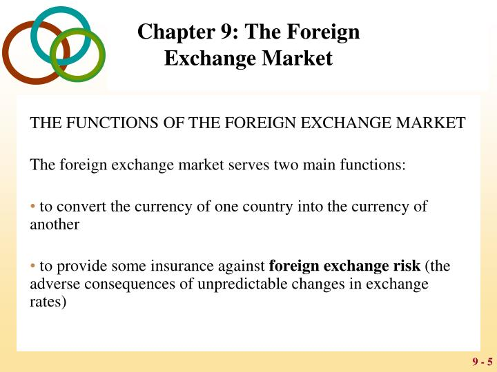 THE FUNCTIONS OF THE FOREIGN EXCHANGE MARKET