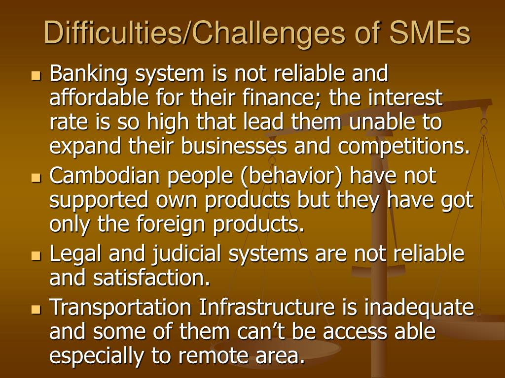 Difficulties/Challenges of SMEs