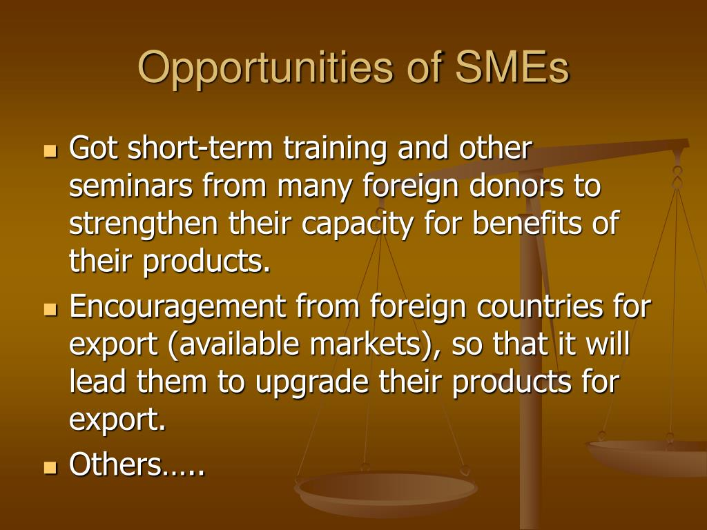 Opportunities of SMEs