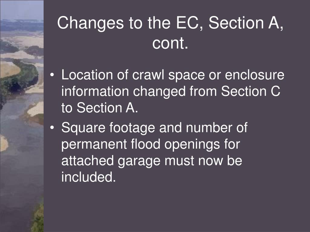 Changes to the EC, Section A, cont.