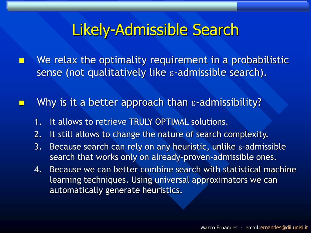 Likely-Admissible Search