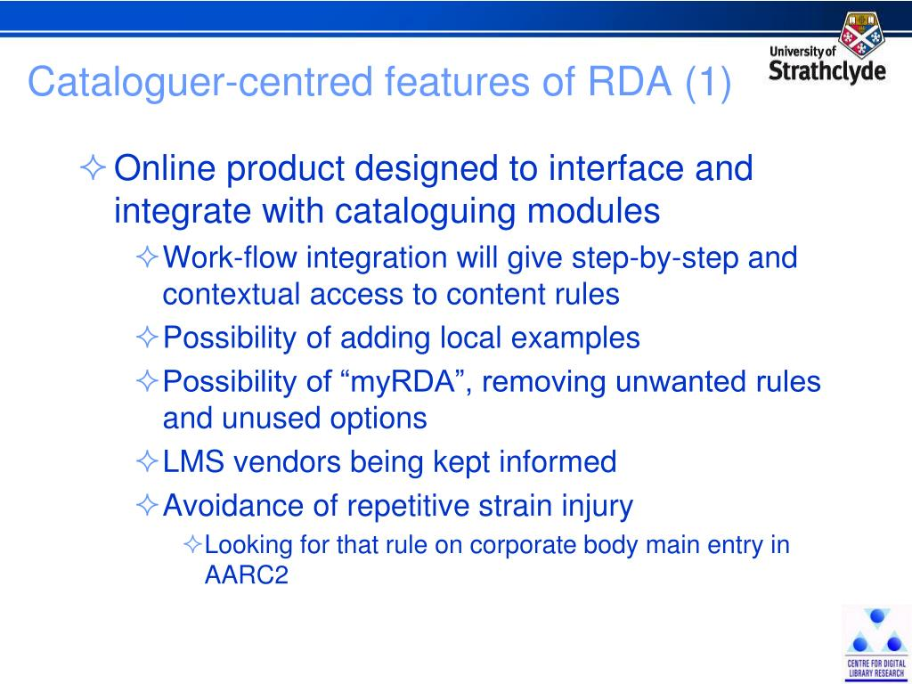 Cataloguer-centred features of RDA (1)