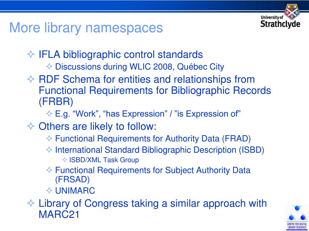 More library namespaces