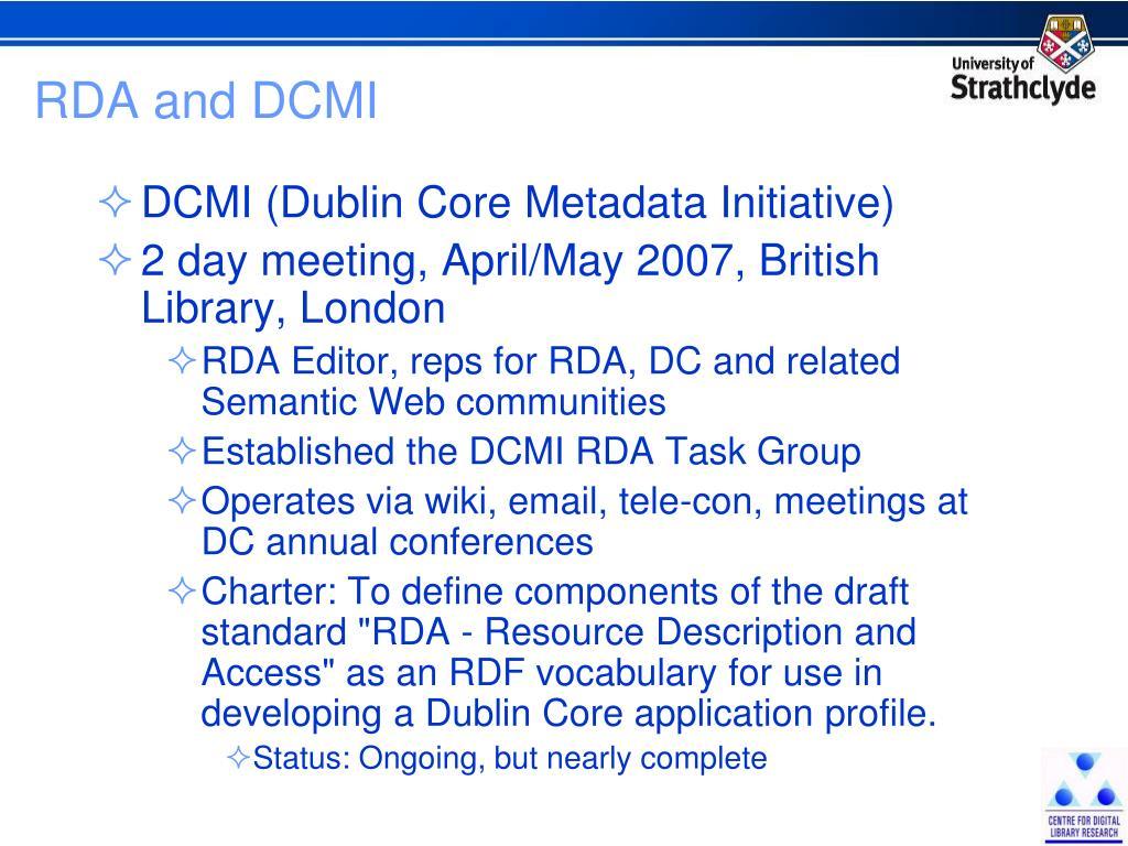 RDA and DCMI