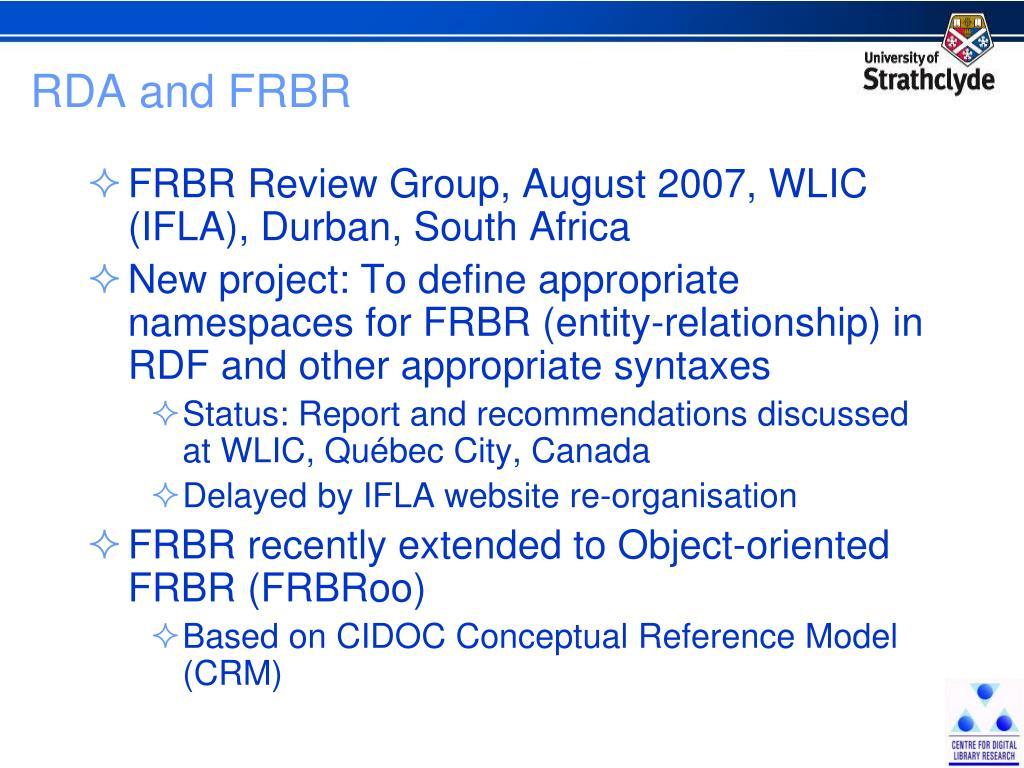 RDA and FRBR