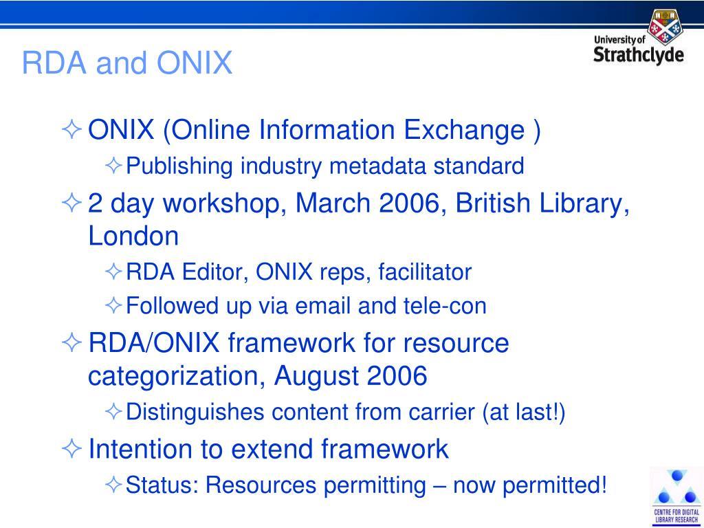 RDA and ONIX