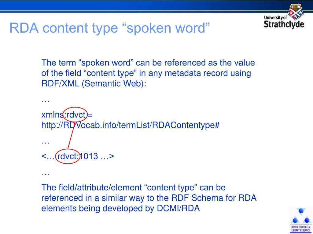 """RDA content type """"spoken word"""""""