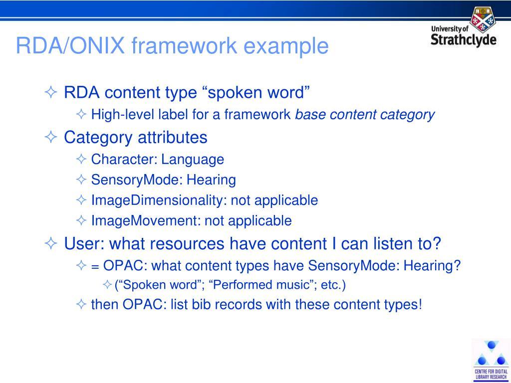RDA/ONIX framework example