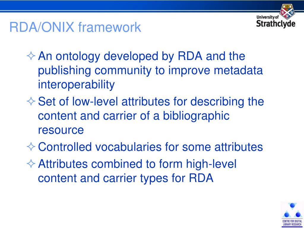 RDA/ONIX framework