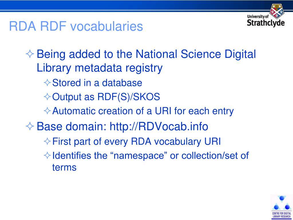 RDA RDF vocabularies