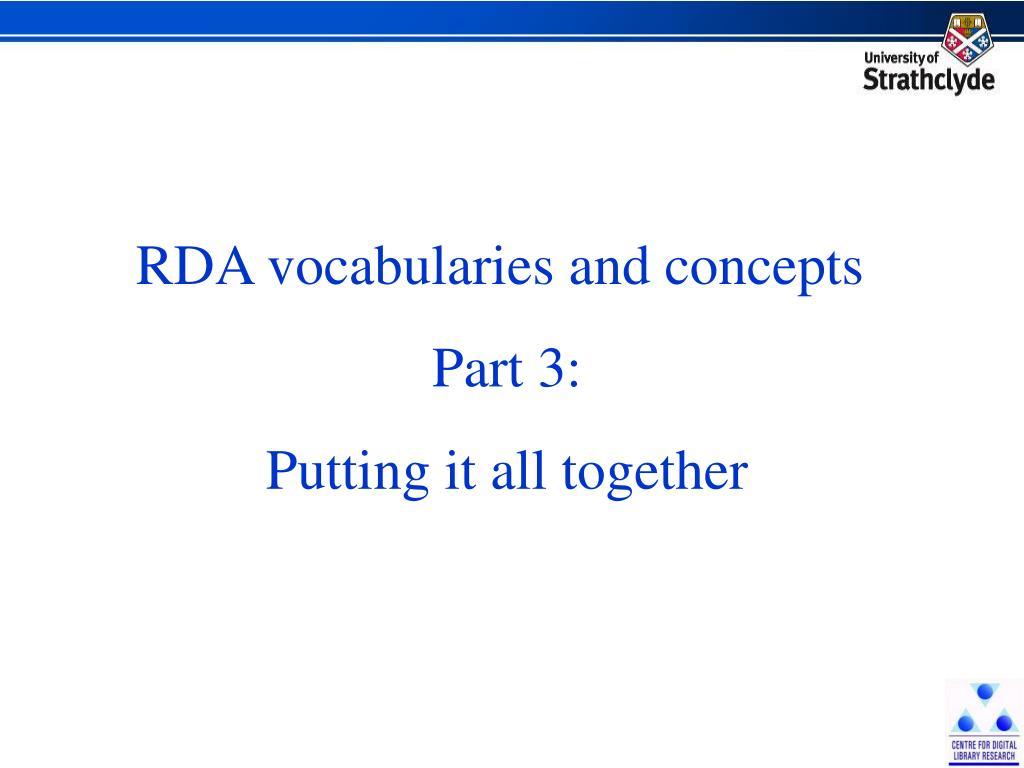 RDA vocabularies and concepts