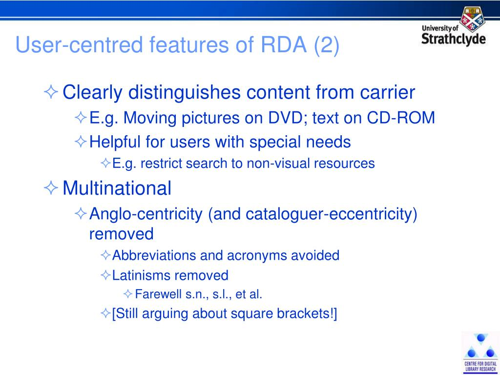 User-centred features of RDA (2)