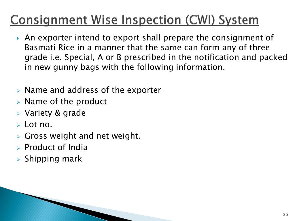 Consignment Wise Inspection (CWI) System