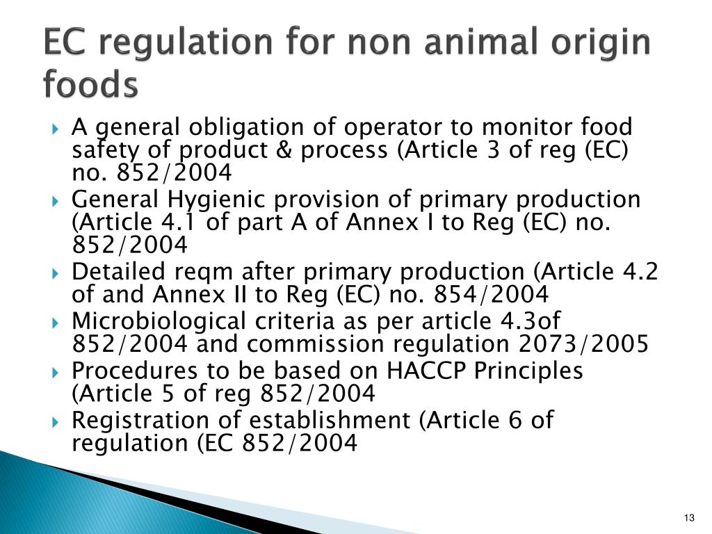 EC regulation for non animal origin foods