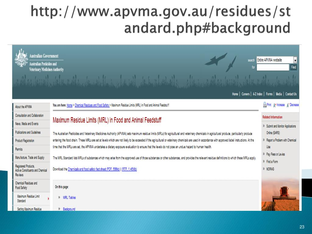 http://www.apvma.gov.au/residues/standard.php#background