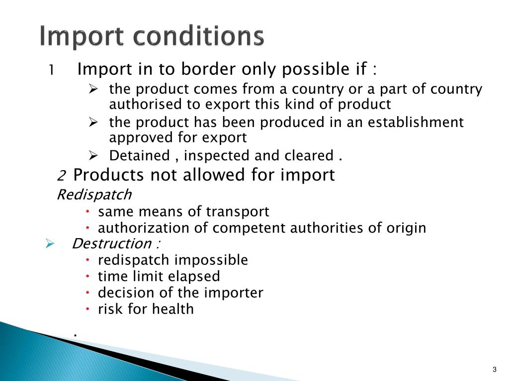 Import conditions