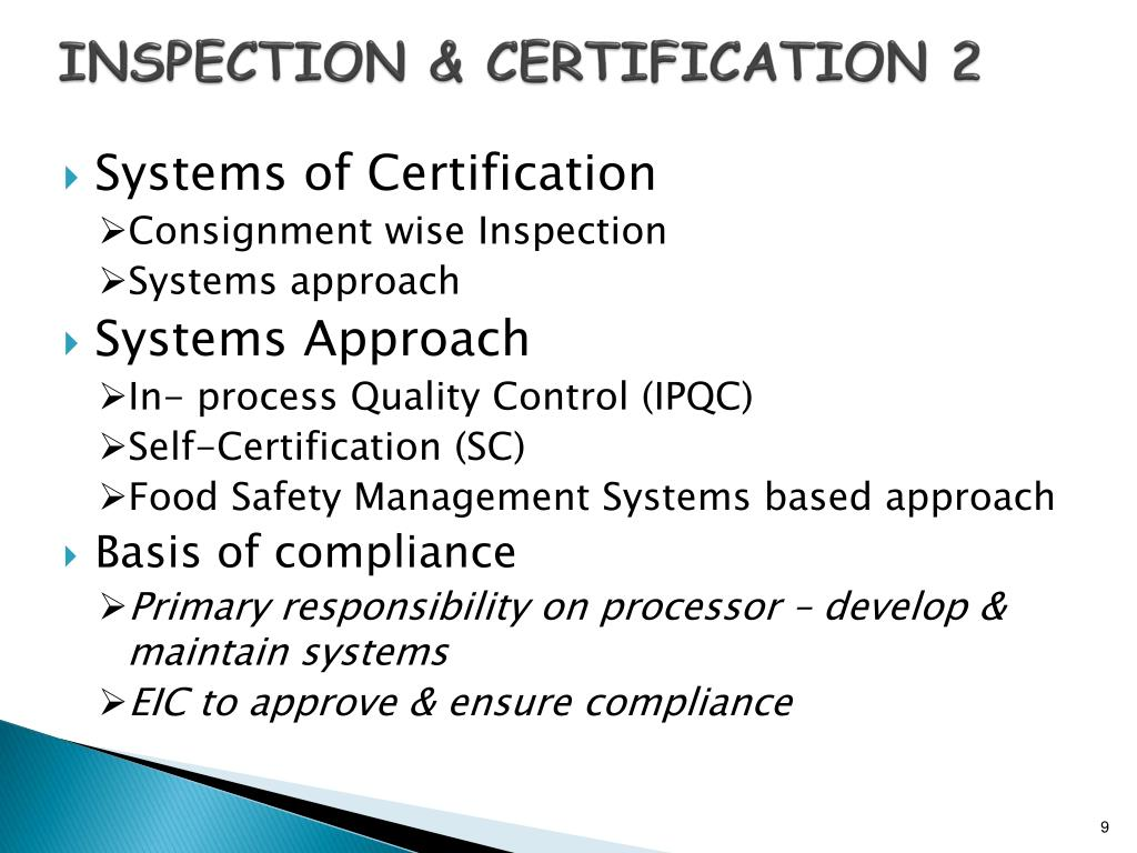 INSPECTION & CERTIFICATION 2