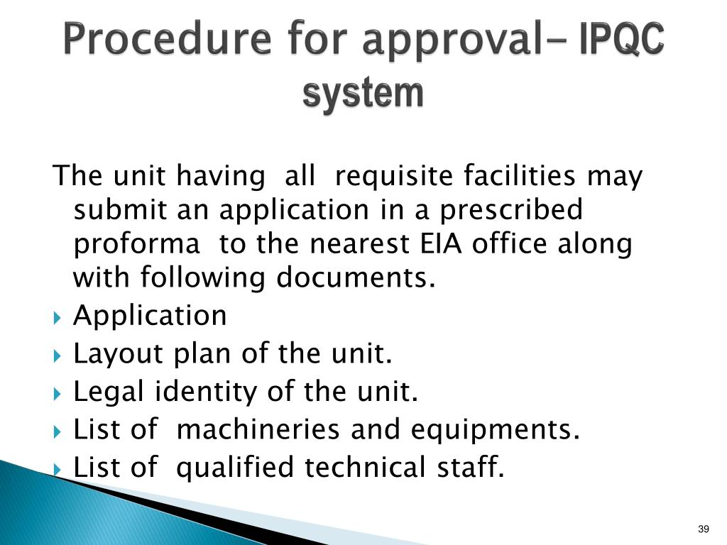 Procedure for approval-