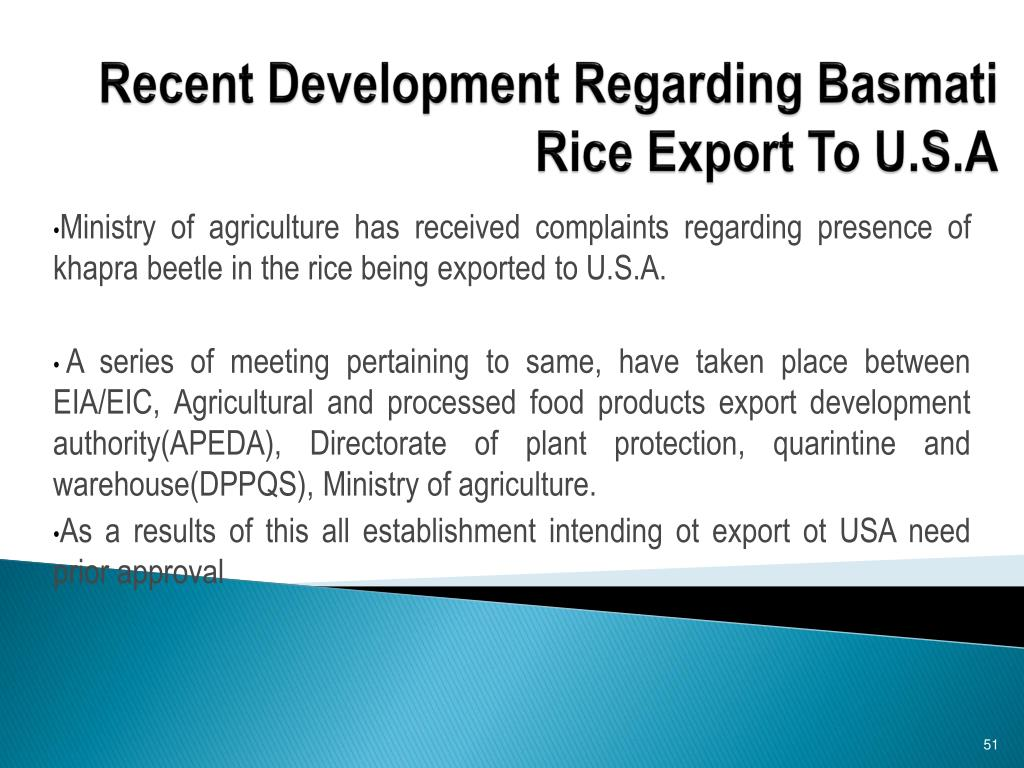 Recent Development Regarding Basmati Rice Export To U.S.A