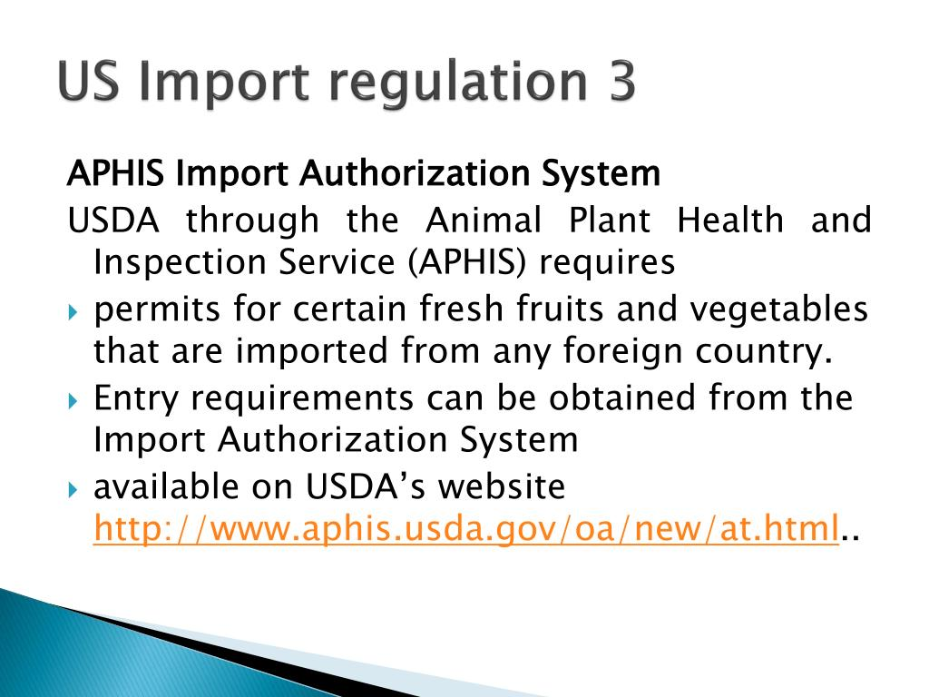 US Import regulation 3