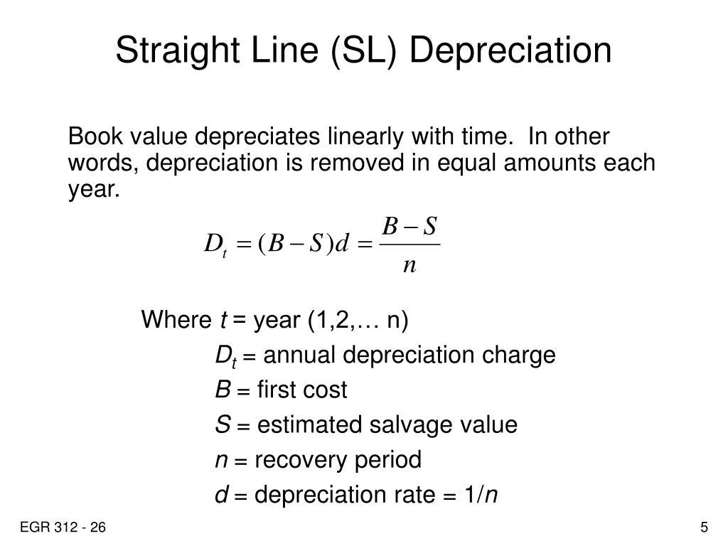 Straight Line (SL) Depreciation