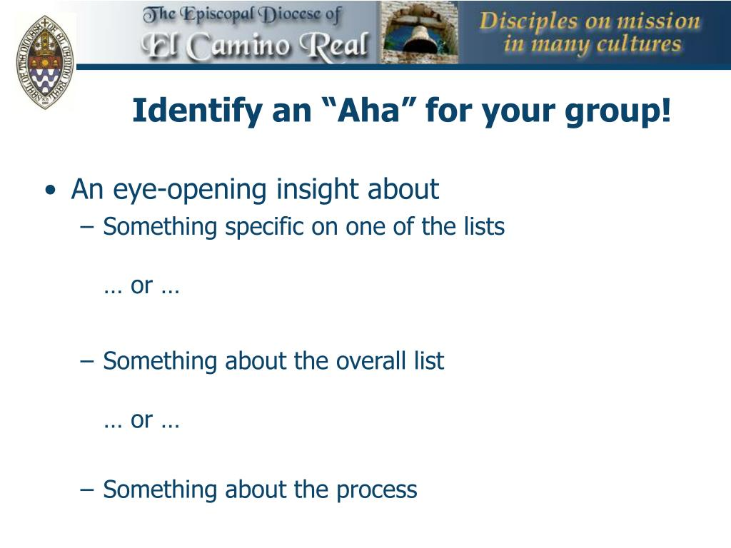 """Identify an """"Aha"""" for your group!"""