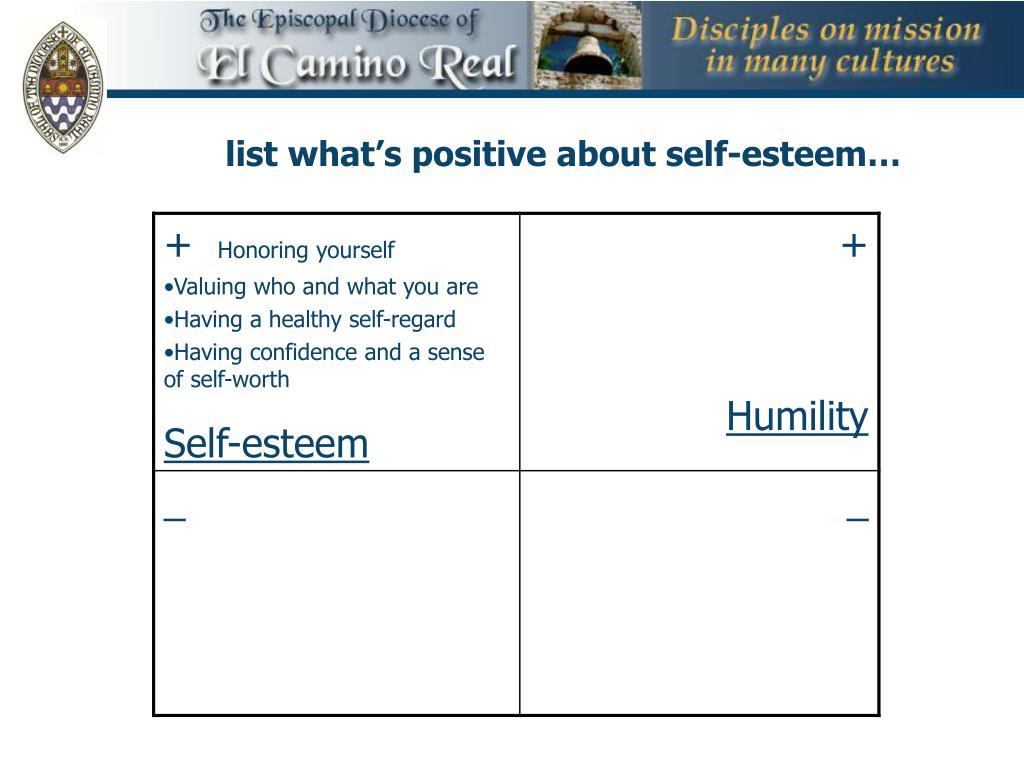 list what's positive about self-esteem…