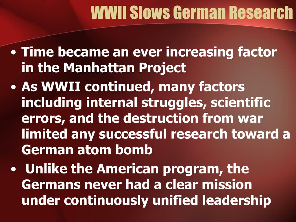 WWII Slows German Research