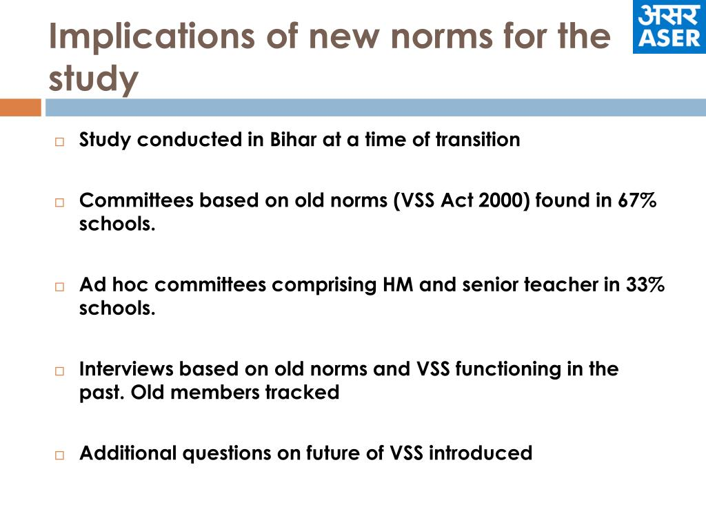 Implications of new norms for the study