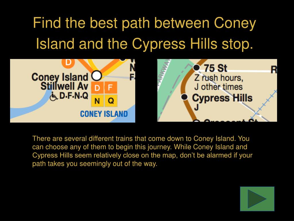 Find the best path between Coney Island and the Cypress Hills stop.