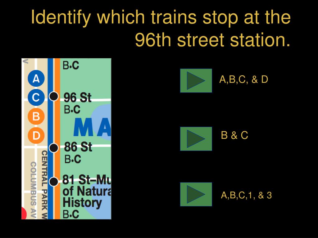 Identify which trains stop at the 96th street station.
