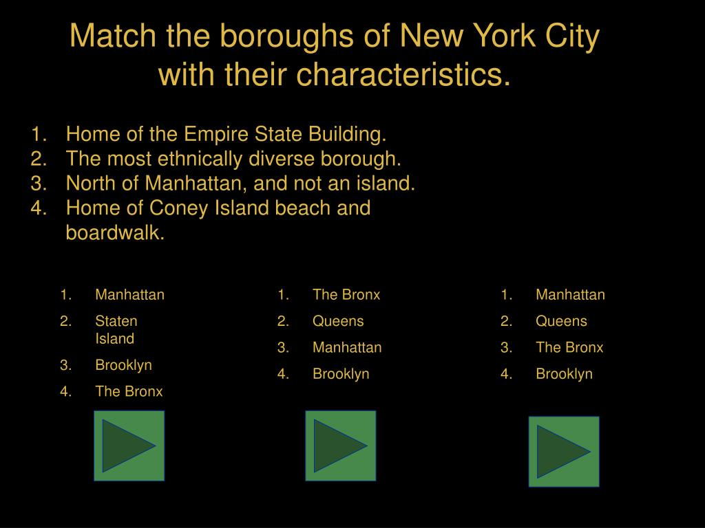 Match the boroughs of New York City