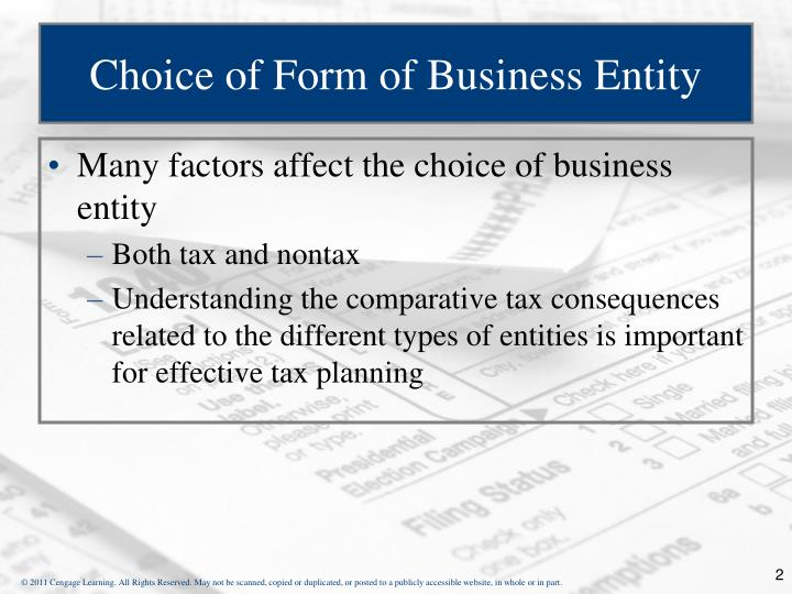 Choice of form of business entity