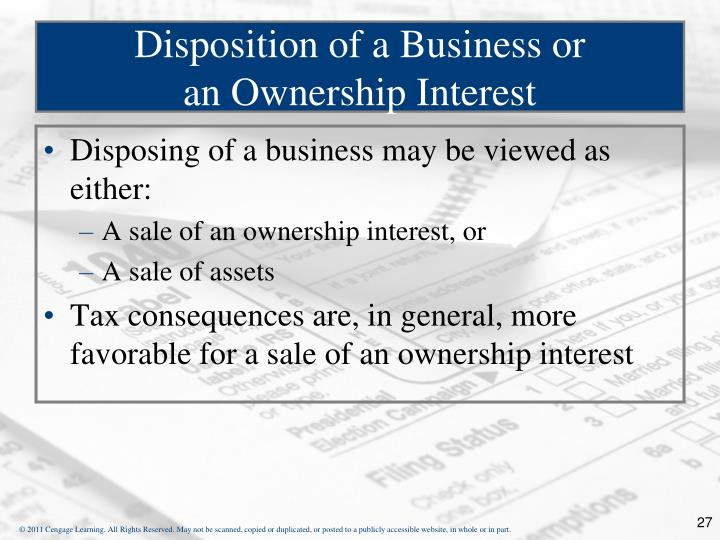 Disposition of a Business or