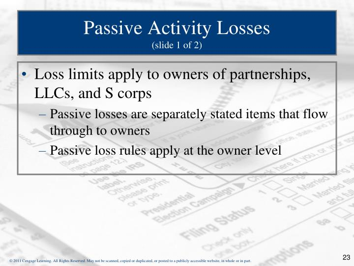 Passive Activity Losses