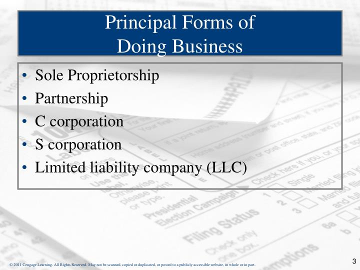 Principal forms of doing business