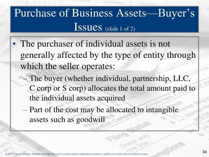 Purchase of Business Assets—Buyer's Issues