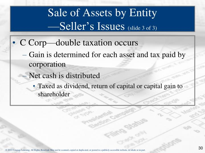 Sale of Assets by Entity