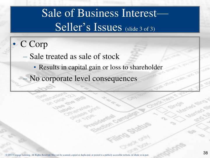 Sale of Business Interest—