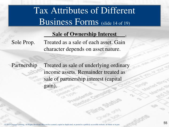 Sale of Ownership Interest