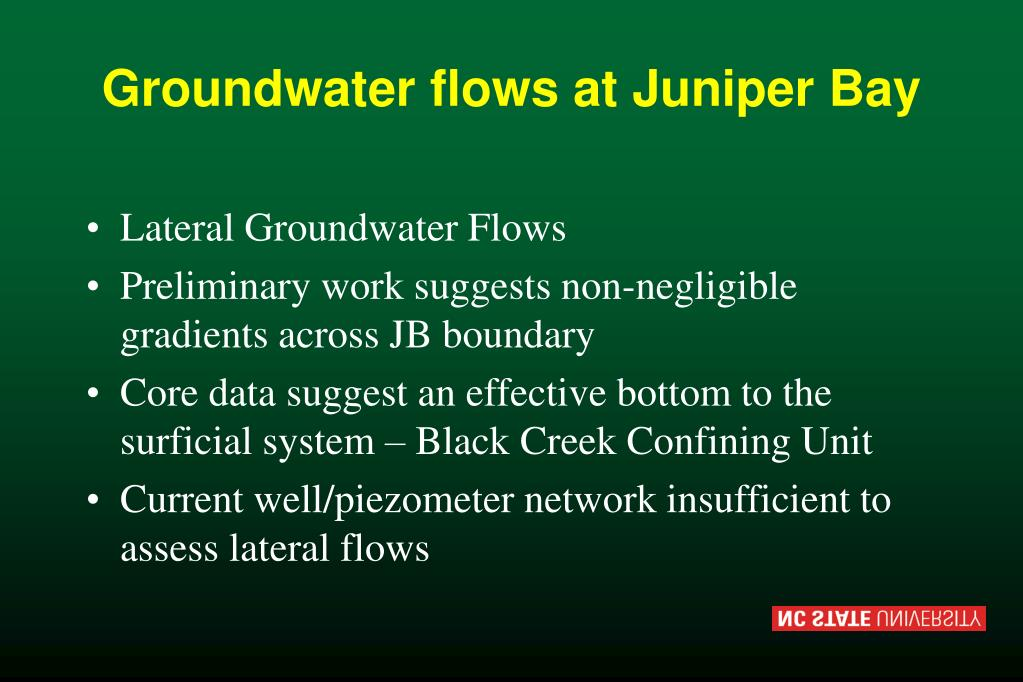 Groundwater flows at Juniper Bay