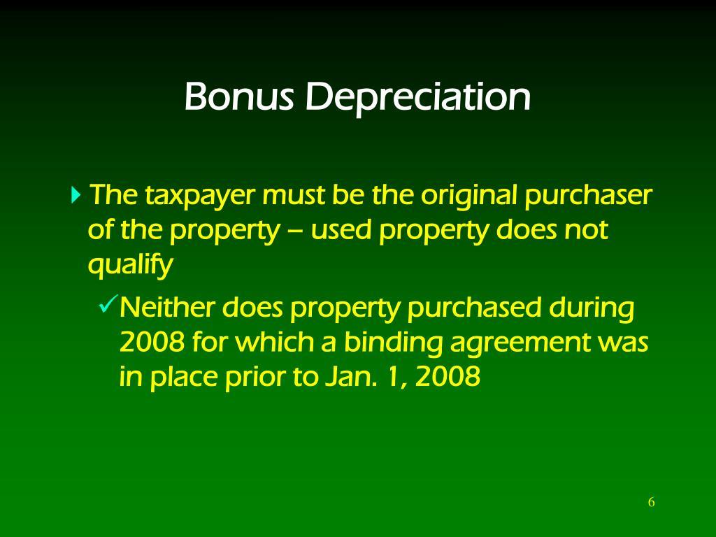 Bonus Depreciation