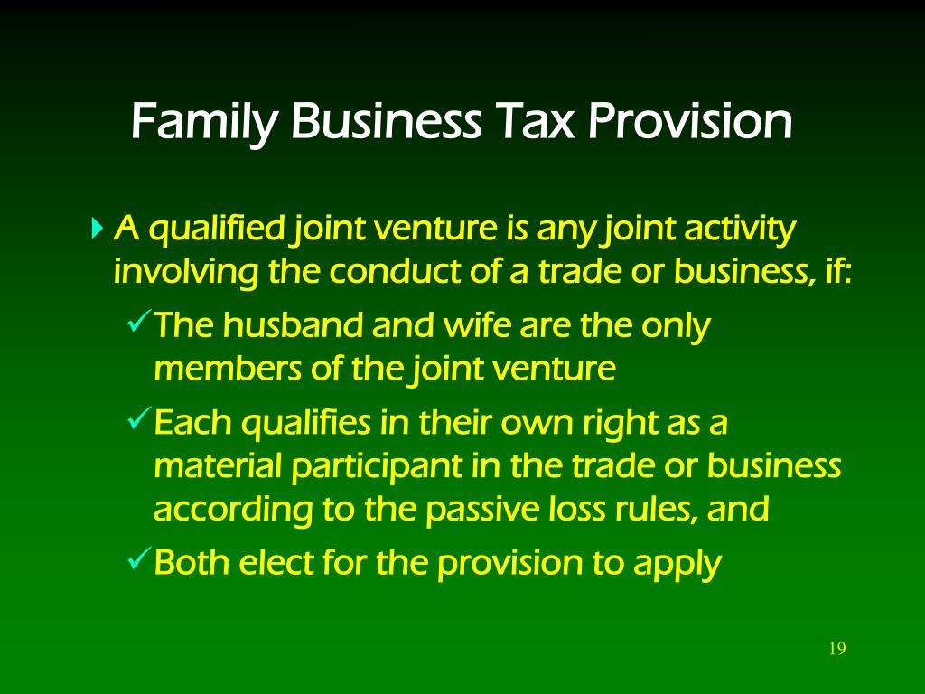 Family Business Tax Provision